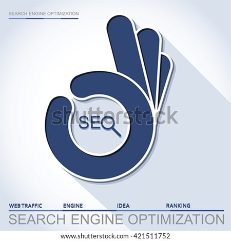 Infographic perfect search engine optimization. Concept with OK hand, vector - stock vector