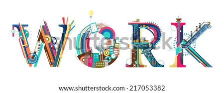 Infographic / process of work / typography  - stock vector