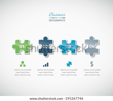 Infographic puzzle piece business vector illustration options - stock vector