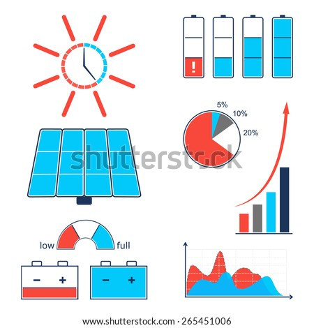 Infographic set of solar energy icons.  - stock vector