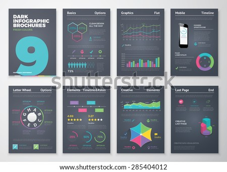 Infographic set with colorful business vector elements. Data visualization and statistic elements for print, website, corporate reports and graphic projects.  - stock vector