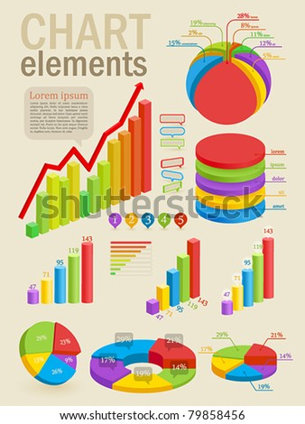 Infographic set with colorful charts. Vector illustration. - stock vector