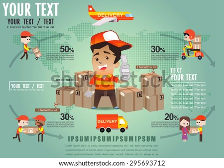 Infographic Shipping on the world template design, Logistic Infographic set with transport system delivery process, Online shopping; Worldwide shipping template, Vector illustrator - stock vector