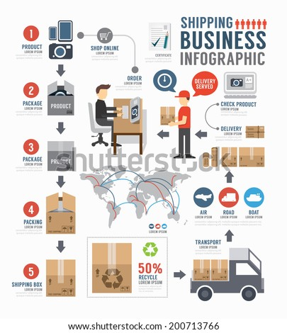 Infographic Shipping world Business  template design . concept vector illustration - stock vector