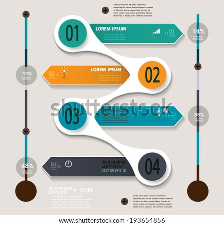 Infographic step by step template.vector illustration can be used for workflow layout, diagram, number options, web design, infographics. - stock vector