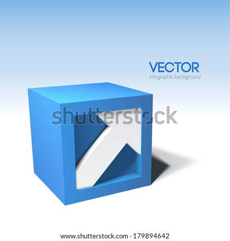Infographic styled vector 3D cube with arrow - stock vector