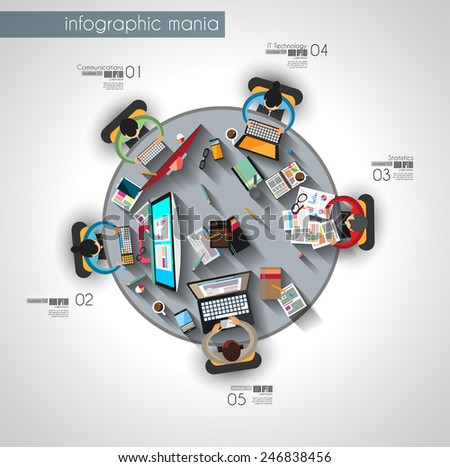 Infographic teamwork and brainstorming with Flat style. A lot of design elements are included: computers, mobile devices, desk supplies, pencil,coffee mug, sheets - stock vector