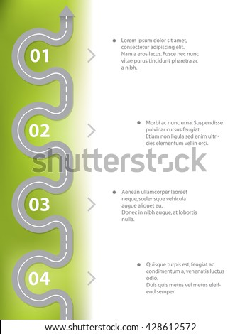 Infographic template design with curvy two lane road - stock vector