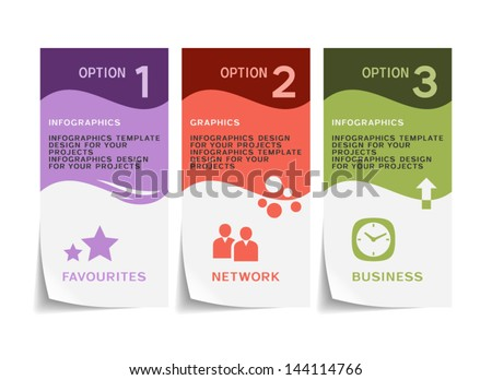 Infographic template design with paper flyer - stock vector