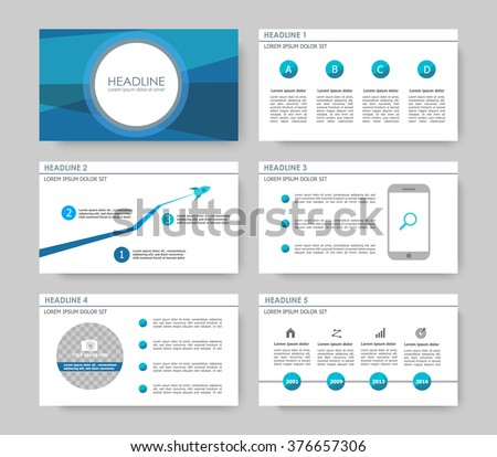 Infographic template for presentation slides with graphs, charts and symbols. Cyan and blue version. - stock vector