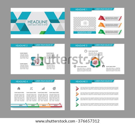 Infographic template for presentation slides with graphs, charts and symbols. Cyan and gray version with colorful elements. - stock vector