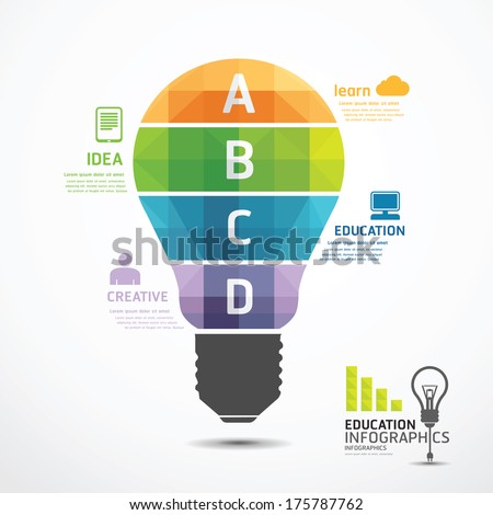 infographic Template geometric Light bulbs banner . concept vector illustration - stock vector