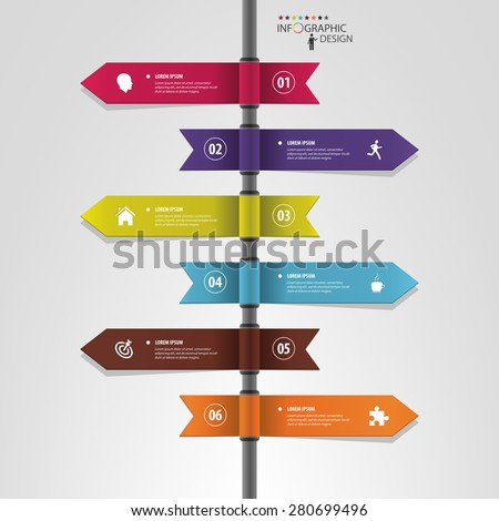 Infographic template of multidirectional pointers on a signpost - stock vector