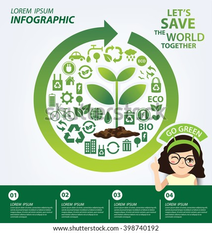 Infographic template. Reuse, Reduce, Recycle concept. Save world vector illustration. - stock vector