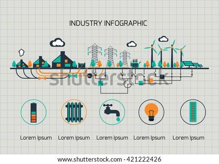 Infographic template.  The power supply of town by wind and sollar power stations. - stock vector