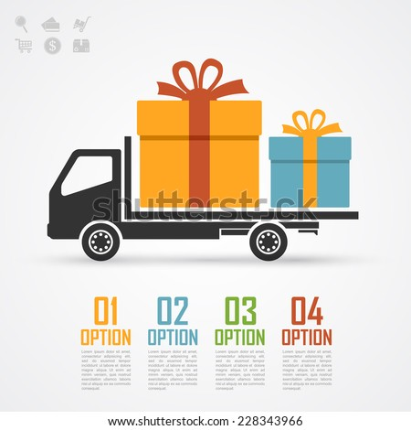infographic template with black and white truck silhouette and gifts on it - stock vector