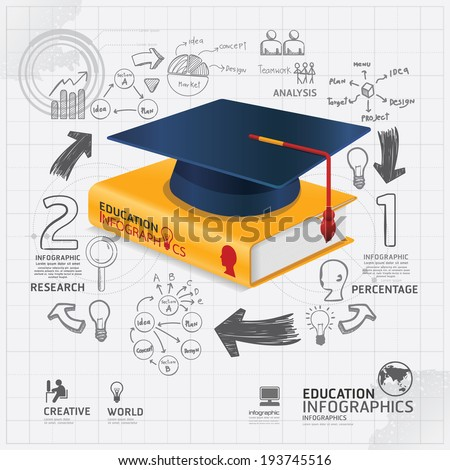 infographic Template with book and Graduation cap doodles line drawing.concept vector illustration - stock vector