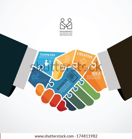 infographic Template with businessman handshake jigsaw banner . concept vector illustration - stock vector