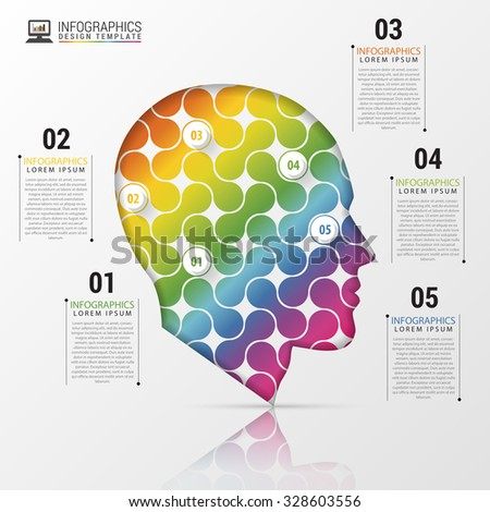infographic Template with Colorful Head. Modern Concept. Vector Illustration