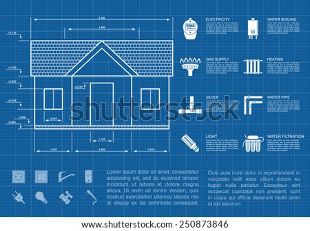 infographic template with house sketch and icons, communication supply lines concept - stock vector