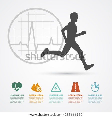 infographic template with running man silhouette and icons: heartbeat, water, energy, distance, time; healthcare, fitness, training concept - stock vector
