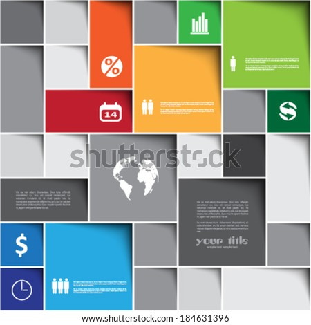 infographic template with squares - stock vector
