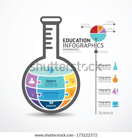 infographic Template with test tube jigsaw banner . concept vector illustration - stock vector