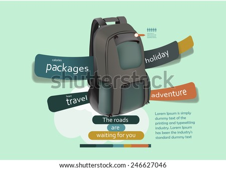 Infographic template with travel bag for the upcoming trips and holiday - stock vector