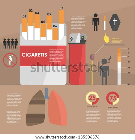 infographic. the harm of smoking - stock vector