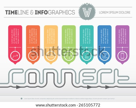 Infographic timeline about connect with 7 parts. Time line of tendencies and trends including logo. Vector web template with icons and design elements on light background. - stock vector