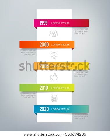 Infographic timeline. Can illustrate a strategy, a workflow, a sequence of events - in a resume, CV or presentations. - stock vector
