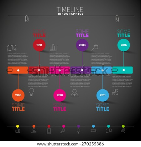 Infographic timeline report template with symbols or icons, Vector illustration - stock vector