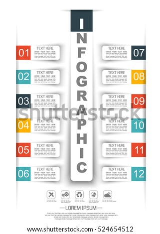 INFOGRAPHIC TIMELINE STIKER PAPER TEMPLATE TWELVE OPTIONS TWO