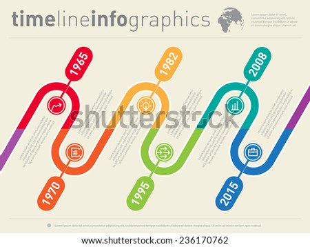 Infographic timeline. Time line of tendencies and trends. Vector web template. - stock vector