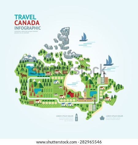 Infographic travel and landmark canada map shape template design. country navigator concept vector illustration / graphic or web design layout. - stock vector