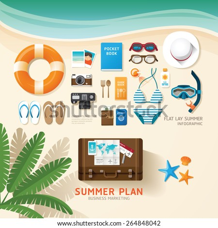 Infographic travel planning a summer vacation business flat lay idea. Vector illustration hipster concept.can be used for layout, advertising and web design. - stock vector