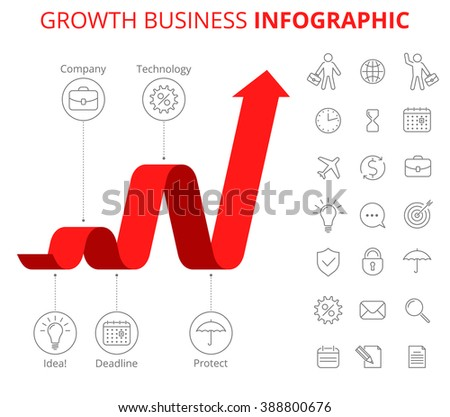 Infographic vector design template and isolated business icon set.  Business infographic, growth arrow, flat line infographic elements. Upward red arrow and icons depict process of increase business. - stock vector