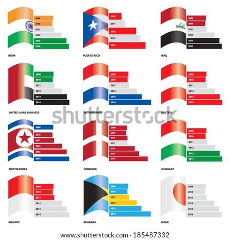 Infographic Vector Editable Flag Bar Graphs - Set 1 - stock vector