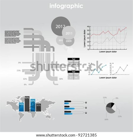 infographic vector graphs and elements. vector illustration. - stock vector