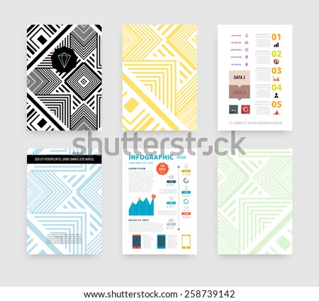 Infographic Vector Illustration with Abstract Geometric Pattern Background. Business Template for Flyer, Banner, Placard, Poster, Brochure Design. Graphic Black Ornament and Elements. Technology Art. - stock vector