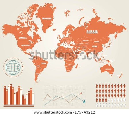 Infographic vector illustration with Map of the World - stock vector