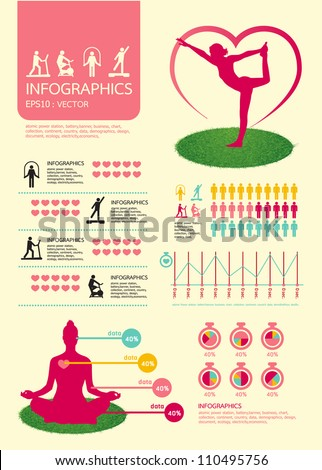 infographic vector sport for health with sport icons - stock vector