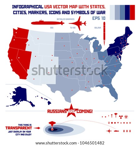 Infographic Vector United States Map States Stock Vector 1046501482