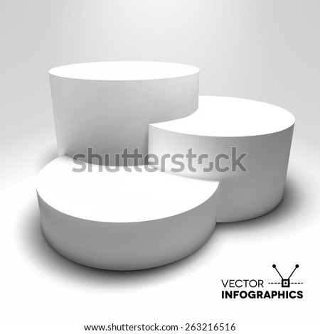 Infographic vector white 3D pedestal or graph. - stock vector