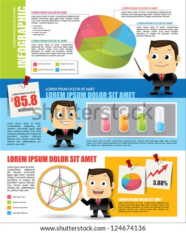 Infographic with businessman - stock vector