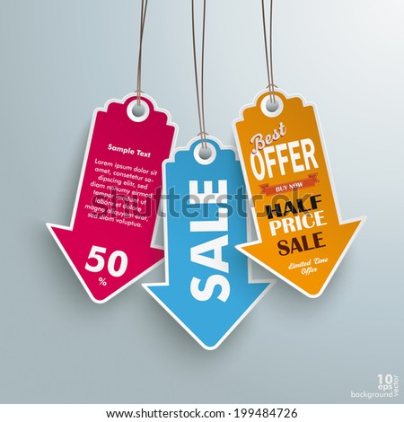 Infographic with colored price stickers arrow on the grey background.  Eps 10 vector file. - stock vector