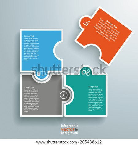 Infographic with colored rectangle puzzle pieces on the grey background. Eps 10 vector file. - stock vector