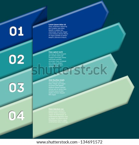 Infographic with four numbered colorful ribbon pointers - stock vector