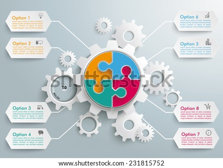 Infographic with gears on the grey background. Eps 10 vector file. - stock vector