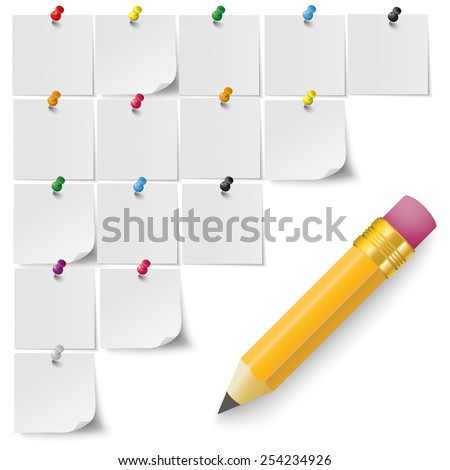 Infographic with gray stickers and colored pins and pencil on the grey background. Eps 10 vector file. - stock vector